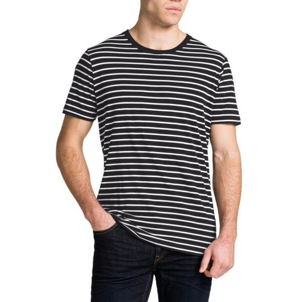 Fashion 4 Men - Tarocash Brenton Stripe Crew Neck Tee Black L