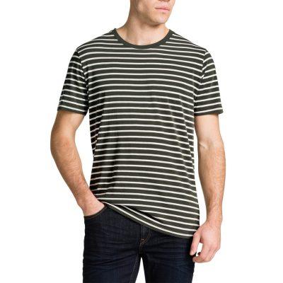 Fashion 4 Men - Tarocash Brenton Stripe Crew Neck Tee Khaki L