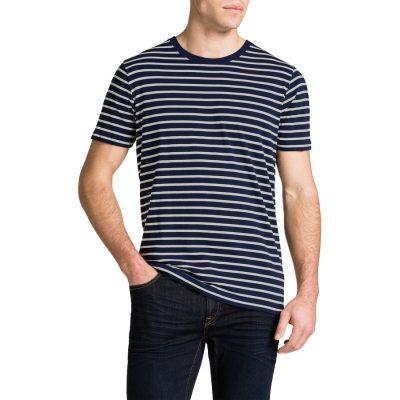 Fashion 4 Men - Tarocash Brenton Stripe Crew Neck Tee Navy Xxl