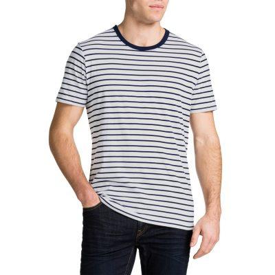 Fashion 4 Men - Tarocash Brenton Stripe Crew Neck Tee White S
