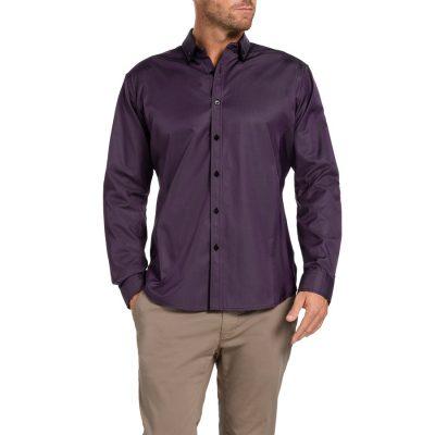 Fashion 4 Men - Tarocash Carlisle Self Stripe Shirt Aubergine Xxxl