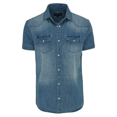 Fashion 4 Men - Tarocash Denim Studded Shirt Blue S