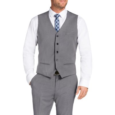 Fashion 4 Men - Tarocash Donahue Waistcoat Silver 5 Xl