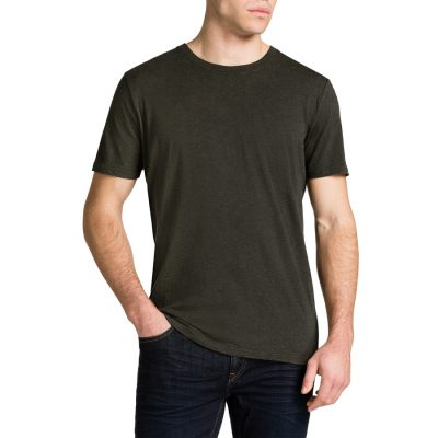 Fashion 4 Men - Tarocash Essential Crew Neck Tee Khaki Marle M