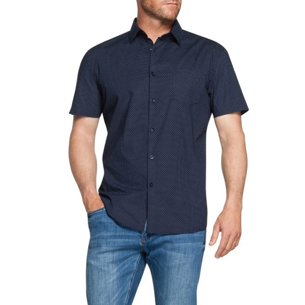 Fashion 4 Men - Tarocash Fleet Stretch Spot Shirt Navy 5 Xl