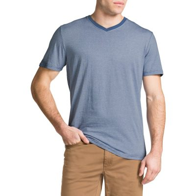 Fashion 4 Men - Tarocash Foster Stripe V Neck Tee Sky L
