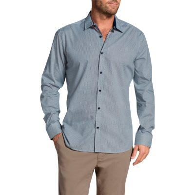 Fashion 4 Men - Tarocash Gibson Print Shirt Blue Xl