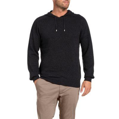 Fashion 4 Men - Tarocash Jason Waffle Hooded Knit Charcoal M