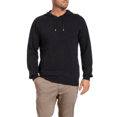 Fashion 4 Men - Tarocash Jason Waffle Hooded Knit Charcoal Xxl