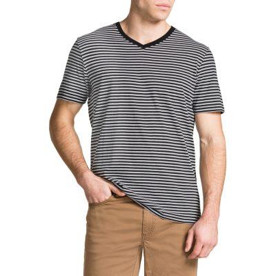 Fashion 4 Men - Tarocash Jasper V Neck Stripe Tee Black S