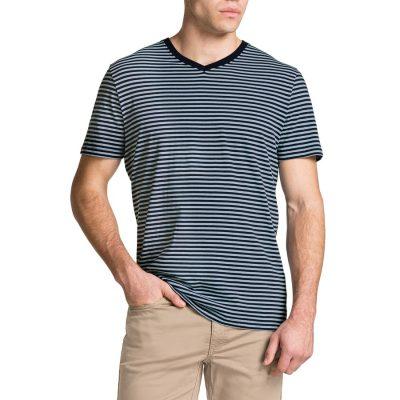 Fashion 4 Men - Tarocash Jasper V Neck Stripe Tee Blue L