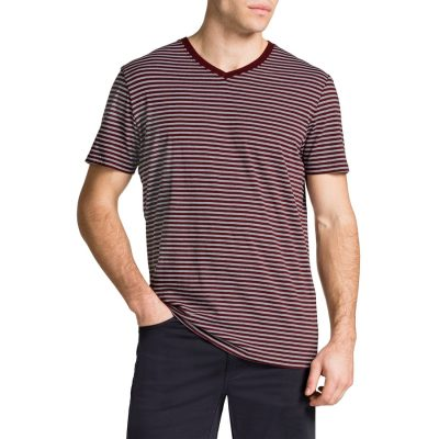 Fashion 4 Men - Tarocash Jasper V Neck Stripe Tee Rust M