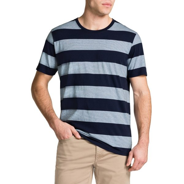 Fashion 4 Men - Tarocash Kerr Stripe Crew Neck Tee Blue Xxl