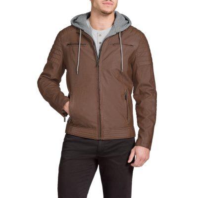 Fashion 4 Men - Tarocash Marlon Hooded Pu Jacket Tan S