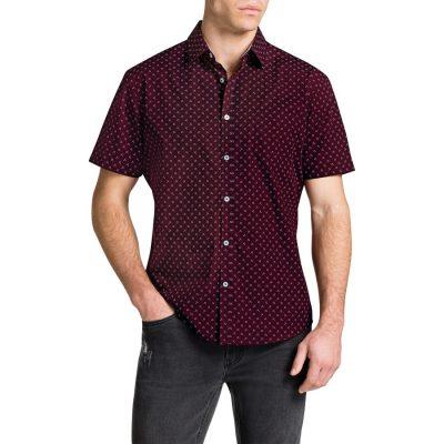 Fashion 4 Men - Tarocash Marlon Print Shirt Burgundy Xl