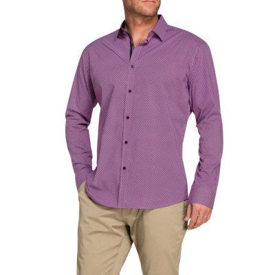 Fashion 4 Men - Tarocash Oliver Print Shirt Berry Xxxl
