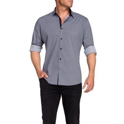 Fashion 4 Men - Tarocash Oliver Print Shirt Charcoal L
