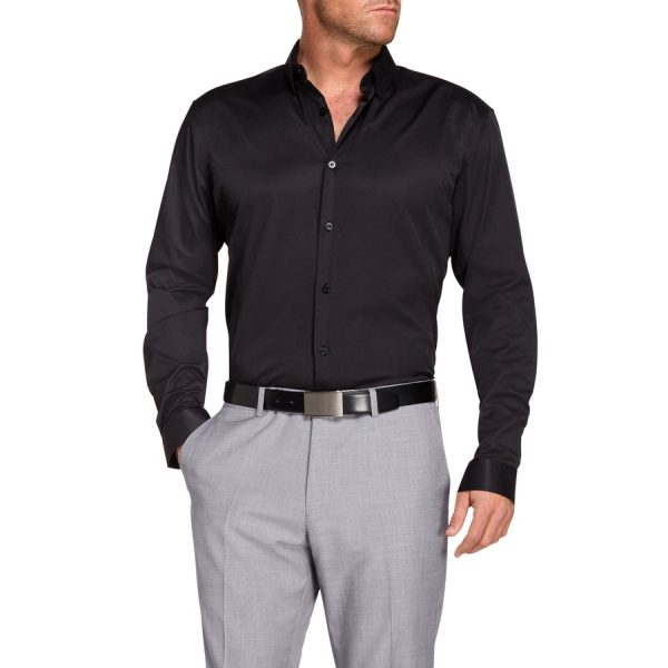 Fashion 4 Men - Tarocash Remo Textured Rib Dress Shirt Black L