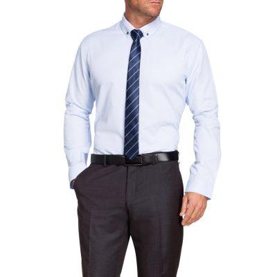 Fashion 4 Men - Tarocash Remo Textured Rib Dress Shirt Sky L