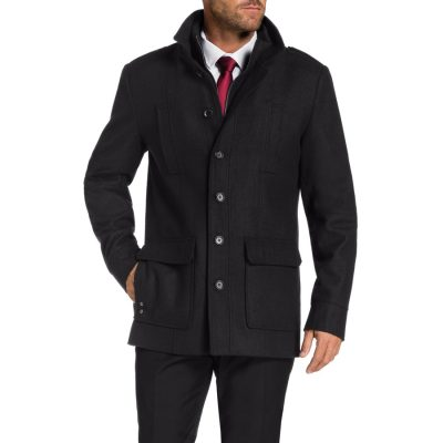 Fashion 4 Men - Tarocash Saxton Melton Coat Black Xl