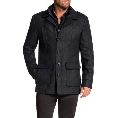 Fashion 4 Men - Tarocash Saxton Melton Coat Charcoal M
