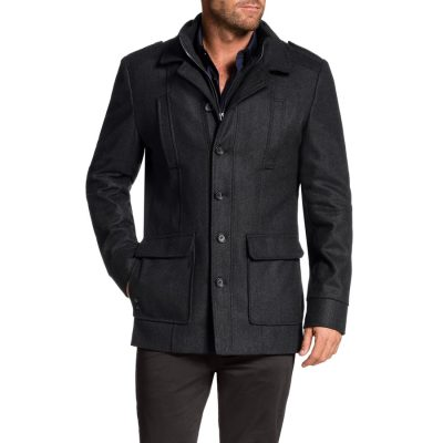 Fashion 4 Men - Tarocash Saxton Melton Coat Charcoal S