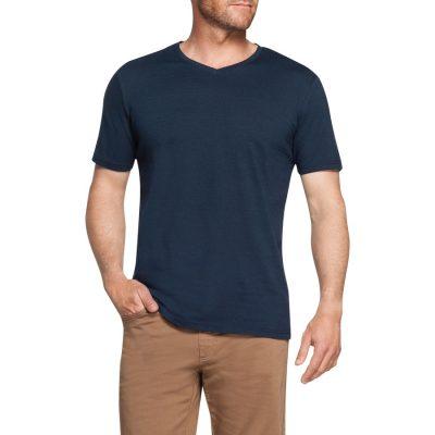 Fashion 4 Men - Tarocash Self Stripe V Neck Tee Teal Xl