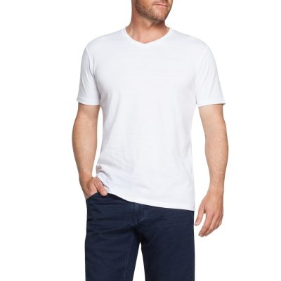 Fashion 4 Men - Tarocash Self Stripe V Neck Tee White Xxxl