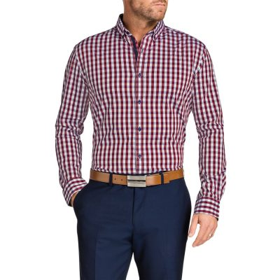 Fashion 4 Men - Tarocash Apollo Check Shirt Burgundy Xxxl