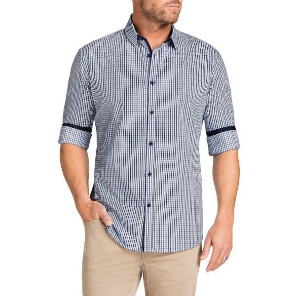 Fashion 4 Men - Tarocash Baillie Jacquard Check Shirt Navy Xl