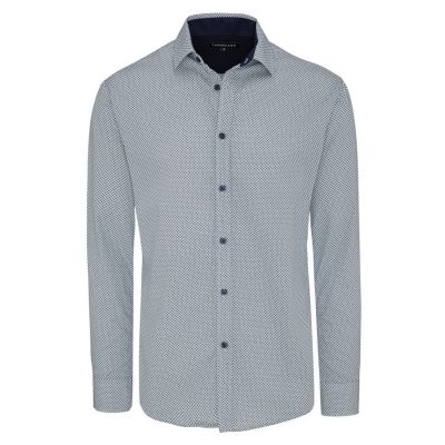 Fashion 4 Men - Tarocash Clock Print Shirt Navy 4 Xl