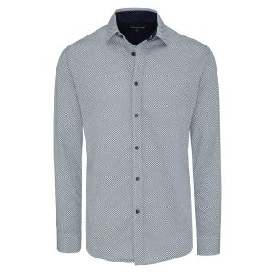 Fashion 4 Men - Tarocash Clock Print Shirt Navy S