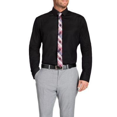 Fashion 4 Men - Tarocash Cruz Textured Slim Shirt Black Xxl