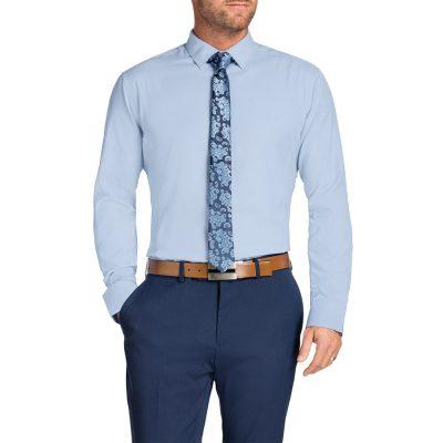 Fashion 4 Men - Tarocash Cruz Textured Slim Shirt Sky L