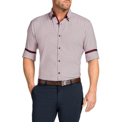 Fashion 4 Men - Tarocash Davie Jacquard Shirt Burgundy L