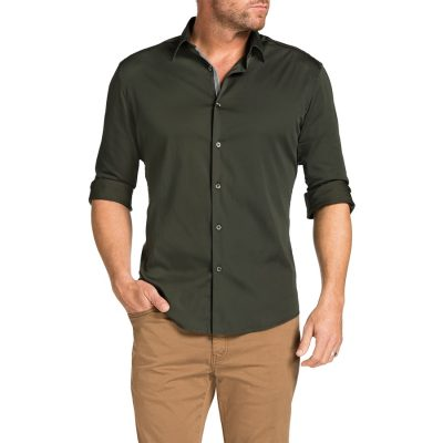 Fashion 4 Men - Tarocash Earl Slim Stretch Shirt Khaki L