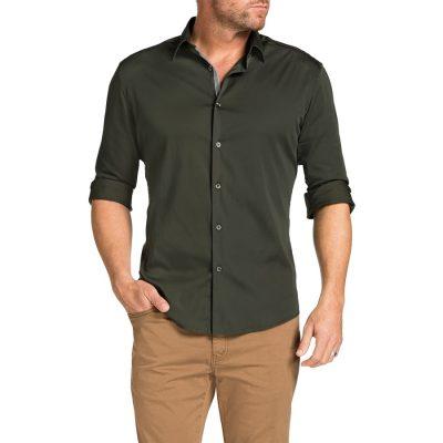 Fashion 4 Men - Tarocash Earl Slim Stretch Shirt Khaki S