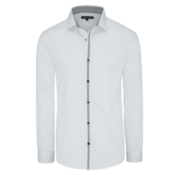 Fashion 4 Men - Tarocash Ellington Slim Stretch Shirt White Xxxl