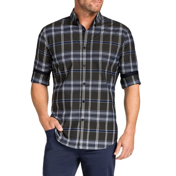 Fashion 4 Men - Tarocash Fraser Slim Check Shirt Khaki M