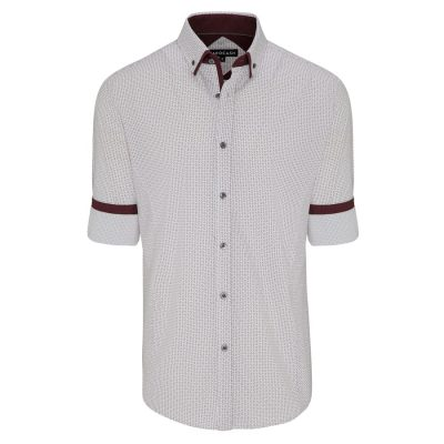 Fashion 4 Men - Tarocash Linden Print Shirt Burgundy Xxxl