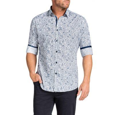 Fashion 4 Men - Tarocash Morrison Paisley Print Shirt Navy 5 Xl