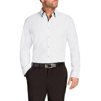 Fashion 4 Men - Tarocash Payne Slim Jacquard Shirt White M