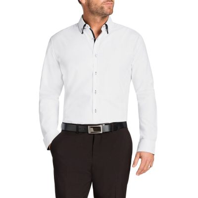 Fashion 4 Men - Tarocash Payne Slim Jacquard Shirt White Xxxl
