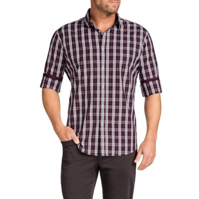 Fashion 4 Men - Tarocash Sheen Check Shirt Burgundy S