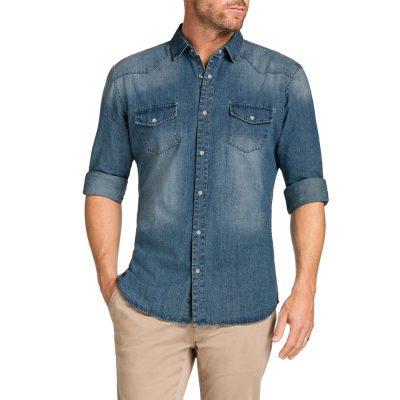Fashion 4 Men - Tarocash Slim Denim Stud Shirt Blue M