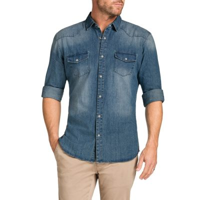 Fashion 4 Men - Tarocash Slim Denim Stud Shirt Blue S