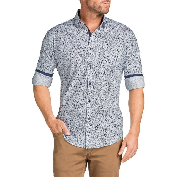 Fashion 4 Men - Tarocash Stirling Slim Floral Print Shirt Navy Xl