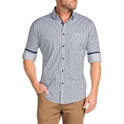 Fashion 4 Men - Tarocash Stirling Slim Floral Print Shirt Navy Xxxl