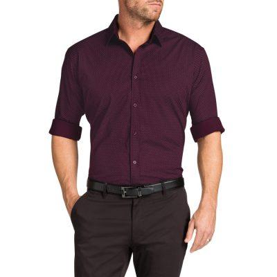 Fashion 4 Men - Tarocash Uno Stretch Print Shirt Burgundy S