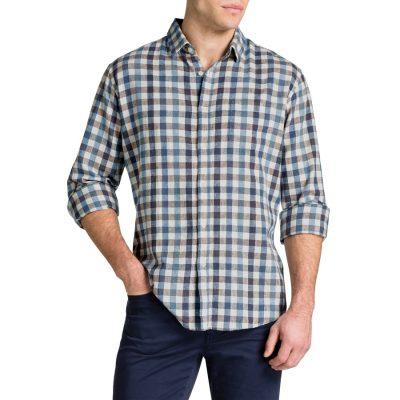 Fashion 4 Men - Tarocash Wyatt Linen Check Shirt Blue Xxl